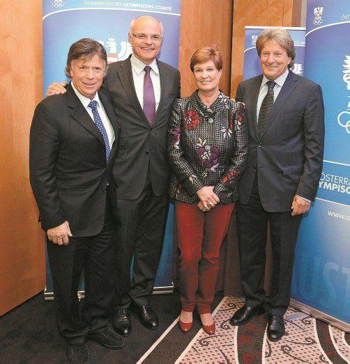 Der ÖOC-Vorstand, der bis zu den Spielen in Rio gewählt ist: Peter Schröcksnadel, Karl Stoss, Elisabeth Max-Theurer und Otto Flum. Foto: gepa