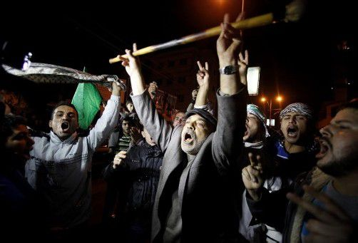 Die Palästinenser feierten gestern die Waffenruhe. Foto: Reuters