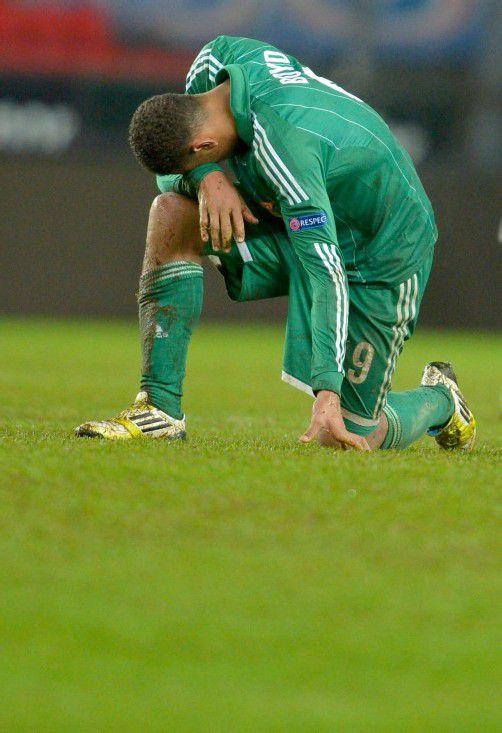 Enttäuschung bei Rapid-Stürmer Terrence Boyd nach Ende des Europa-League-Spiels in Trondheim. apa