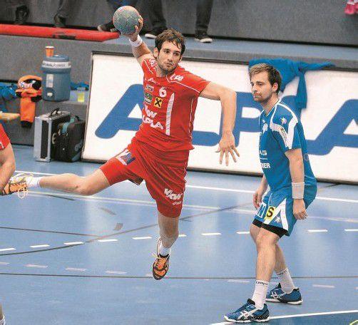 Hard-Goalgetter Dominik Schmid war mit 60 Treffern zweitbester Torschütze in der Hinrunde der Handball-Liga Austria. Foto: VN/DS