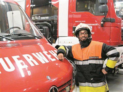 Kennedy ist seit 2011 Mitglied bei der örtlichen Feuerwehr in Lochau. Foto: VN/Bösch