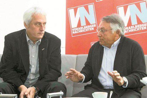 Norbert Loacker und Erich Lingenhöle haben eine durchaus gute Gesprächsbasis. Foto: VN/Paulitsch