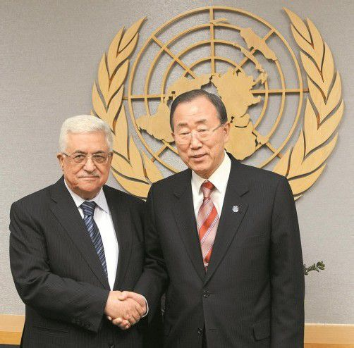 Palästinenserführer Abbas (l.) mit UN-Generalsekretär Ban. Foto: EPA
