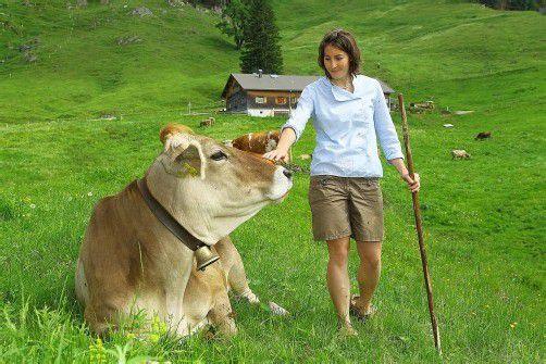 """Präsident Moosbrugger will künftig Kühe zählen: """"Das ist sicherer als Flächen schätzen."""" Bild: Alpe Glockenplatte, Hittisau. Foto: VN/hofmeister"""
