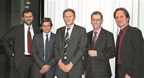 Referenten unter sich: Herbert Loos (l.), Romeo Kalkhofer, Wolfgang Zumtobel sowie Herbert Steiner und Gebhard Moser. FotoS: Privat