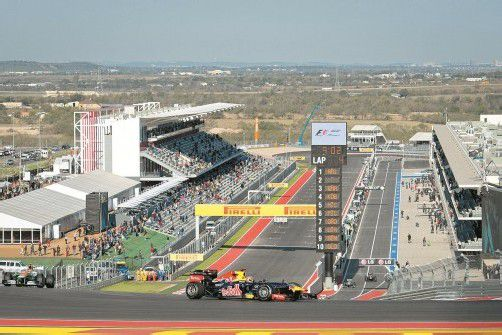 Sebastian Vettel lenkte seinen Red Bull auf der nagelneuen Rennstrecke in Austin am ersten Tag zweimal zur Bestzeit. Foto: apa