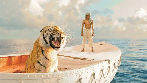277 Tage muss sich der junge Inder Pi Patel sein Rettungsboot mit einem Tiger teilen.
