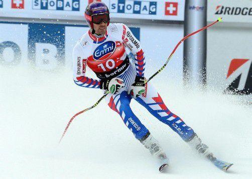 Der Franzose Adrien Theaux notierte im ersten Trainingslauf die Bestzeit, nur der Südtiroler Christof Innerhofer konnte mithalten. Foto: epa