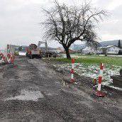 Winter verzögert den Radwegbau in Gaißau