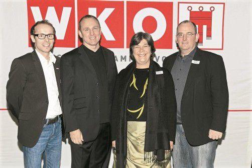 Geschäftsführer Michael Moosbrugger (l.) mit Eric Adler sowie Referentin Wilhelmine Goldmann und Obmann Christian Bickel. Fotos: UBIT/Mathis