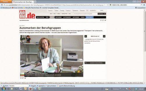 Symbolbild mit Finanzministerin Maria Fekter. Screenshot: Autobild.de