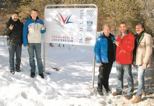 EYOF-OK und Bürgermeister: Both, Büchel-Thalmaier, Hueber, Dubkowitsch, Bitschnau. Foto: Mt