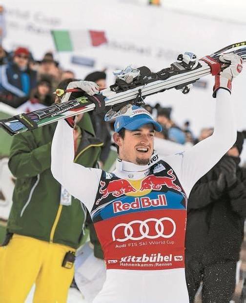 In Bormio musste er sich den Sieg noch mit Hannes Reichelt teilen, auf der Streif in Kitzbühel gehörte ihm der Sieg alleine: Dominik Paris. Foto: apa