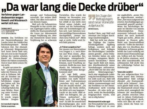 Aufgrund dieses VN-Artikels wurde Erwin Bahl bei der Staatsanwaltschaft angezeigt. Er hatte im Interview von neuen, massiven Anschuldigungen gegen den Beamten berichtet.