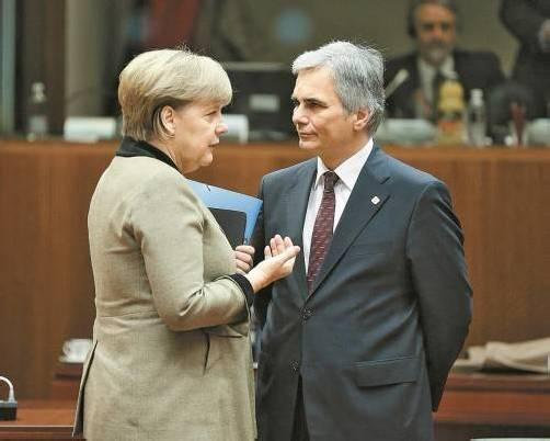 Faymann mit Deutschlands Kanzlerin Angela Merkel. Foto: APA