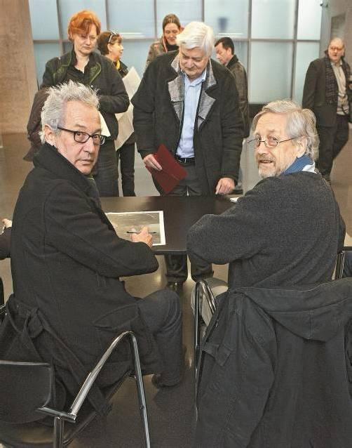 Fischli und Weiss bei der letzjährigen Signierstunde für VN-Kunstsammler im KUB. Foto: Shourot