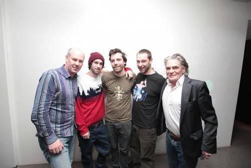 Kurator Udo Kawasser (l.)mit den Künstlern Christoph Schmid und Clemens Gürtler sowie Musiker Pepi Unterberger und Jörg Thurnher.