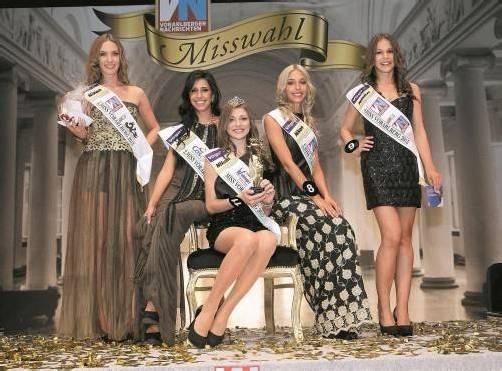Laura aus Dornbirn (5. Platz), Vizemiss Michelle-Monique (16) aus Lauterach, Miss Vorarlberg 2013 Angelika Albrecht (17) aus Lustenau, Zaklina aus Bregenz (3. Platz) und Eva-Maria aus Göfis (4. Platz).