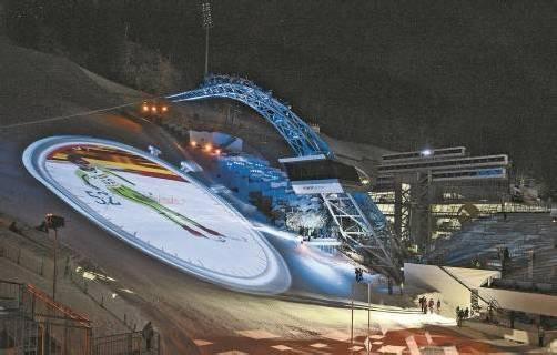 Probe für die Eröffnungsfeier: Der Planai-Zielhang steht im Mittelpunkt des Spektakels. Foto: apa