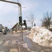 Schneehaufen beseitigt