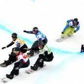 Snowboarder fuhren in Arosa am Podest vorbei