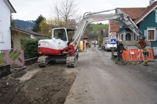 Bereits Anfang April wurde mit den Kanalarbeiten am Unteren Kirchweg in Dornbirn begonnen. Foto: eh