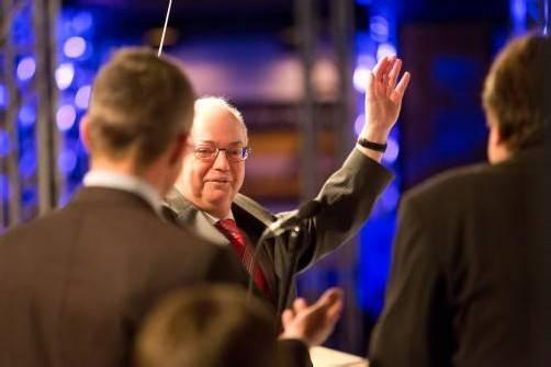 """Wolfgang Rümmele brachte ein letztes Mal das Messe-Publikum als Redner zum Lachen: """"Gibt es nicht oft, dass man den eigenen Abgesang dirigiert."""""""