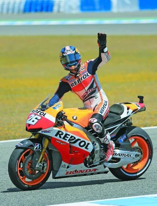 Dani Pedrosa feiert den Sieg beim Heim-GP. Foto: reuters