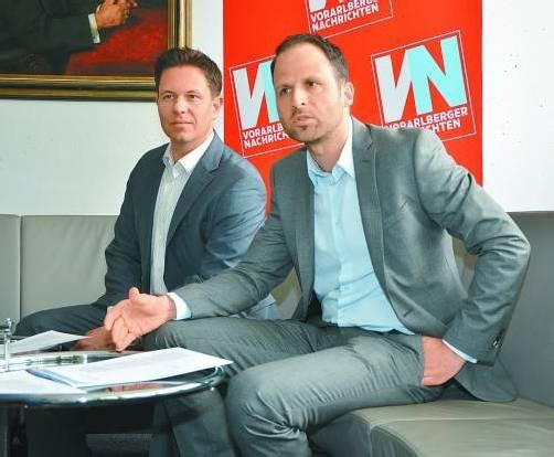 """Markus Roth (JW-Bundesvorsitzender), Marco Tittler (GF JW Vorarlberg): """"Gründungen sind nicht einfacher geworden, aber der Weg."""" Foto: vn"""