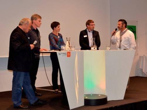 V. l. n. r. : Kurt Hämmerle, Energieinstitut, Wilfried Engel, Engel und Brotzge, Kommunikationsfachfrau Julia Weger , Spengler Joachim Entner und Dr. Günther Reifer, Terra Institute Brixen.