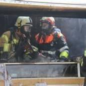 Imbissstand in Flammen