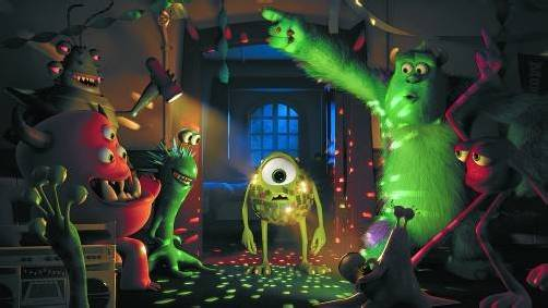 Die lustigen Pixar-Monster Mike & Sulley waren nicht immer beste Freunde. Auf der Uni müssen sich der Streber und das Party-Animal erst zusammenraufen. Fotos: Walt Disney