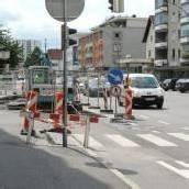 Straßensperre in Bregenz wegen Belagsanierung