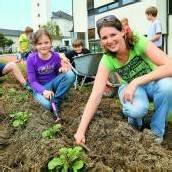 Schüler bepflanzen Schulgarten
