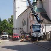 Straßensperre und Umleitung im Oberdorf