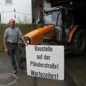 Belagsarbeiten auf der Lochauer Pfänderstraße