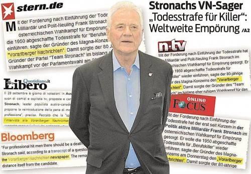Der Sager von Stronach gegenüber den VN erregte weltweit Aufsehen.