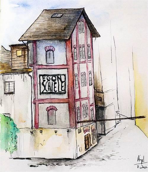 Die jüngst entstandene Aquarellskizze das spanischen Malers Angel Rodriguez Roblez zeigt jenes Haus in Krumau, in dem der Autor Franz Kabelka wohnte, als er an einem neuen Buch schrieb. Foto: Kabelka