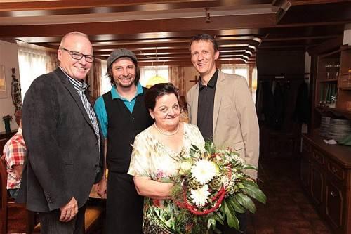 Elmar Herburger, Gernot Fulterer, seine Mutter Martha Fulterer und Martin Salzmann. FOTOS: A. Meusburger