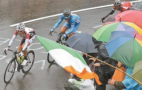 """Matthias Brändle führt bei der Rad-WM in Florenz die Spitzengruppe an: """"Mit meinen Möglichkeiten habe ich das Optimum herausgeholt. Dann war der Akku leer."""" Foto: gepa"""