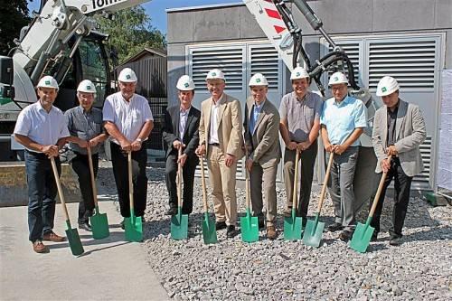 Spatenstich für den Bau des neuen Bürogebäudes für Vorarlberg Netz. Foto: VN/j. Schwald
