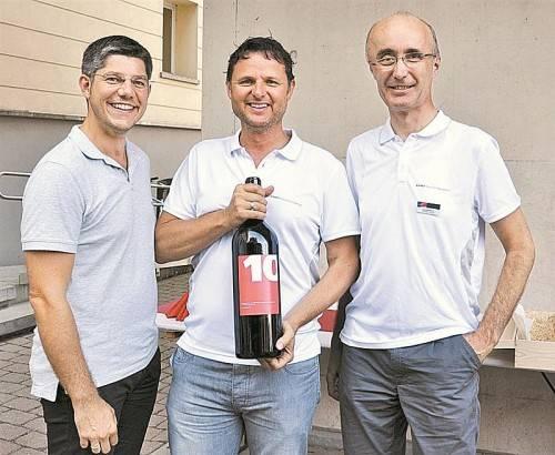 Werber Simon Ender mit den Gastgebern Peter Steurer und Manfred Pozetti (v.l.).