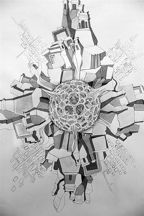 """Zeichnung """"Fractal City"""" von Anne Zwiener. Fotos: A. Grabher"""
