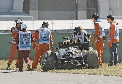 Kimi Räikkönen fuhr im Training zum Grand Prix in Yeongam seinen Lotus zu Schrott. Foto: ap