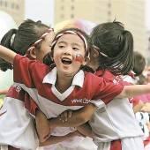 Taiwanische Kinder feiern Doppel-Zehn-Fest