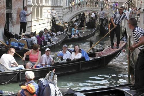 Die Gondolieri von Venedig protestierten wegen des starken Verkehrsaufkommens auf den Kanälen.