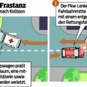 Promillesünder krachte mit Auto in Rettungswagen
