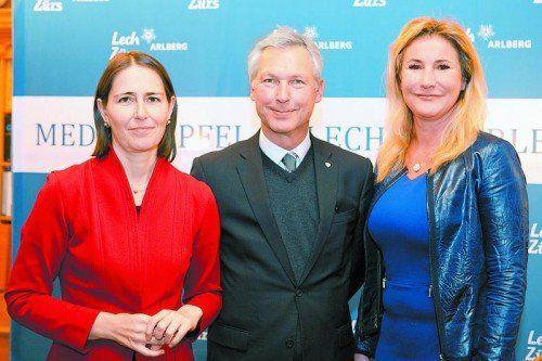 Der Vizepräsident des EU-Parlament Othmar Karas, Mitorganisatorin Susanne Glass (ARD) und EU-Kommissar Johannes Hahn. Foto: F. Lechner
