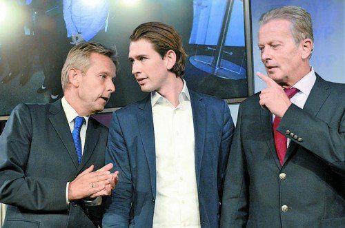 ÖVP-Riege (v. l.): Klubobmann Reinhold Lopatka, Außenminister-Kandidat Sebastian Kurz, Wirtschaftsminister Reinhold Mitterlehner. Foto: APA