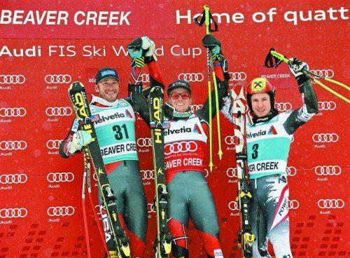 Zwei Favoriten und eine Überraschung auf dem Riesentorlauf-Siegerpodium von Beaver Creek: Ted Ligety gewann vor Bode Miller (l.) und Marcel Hirscher. Foto: apa